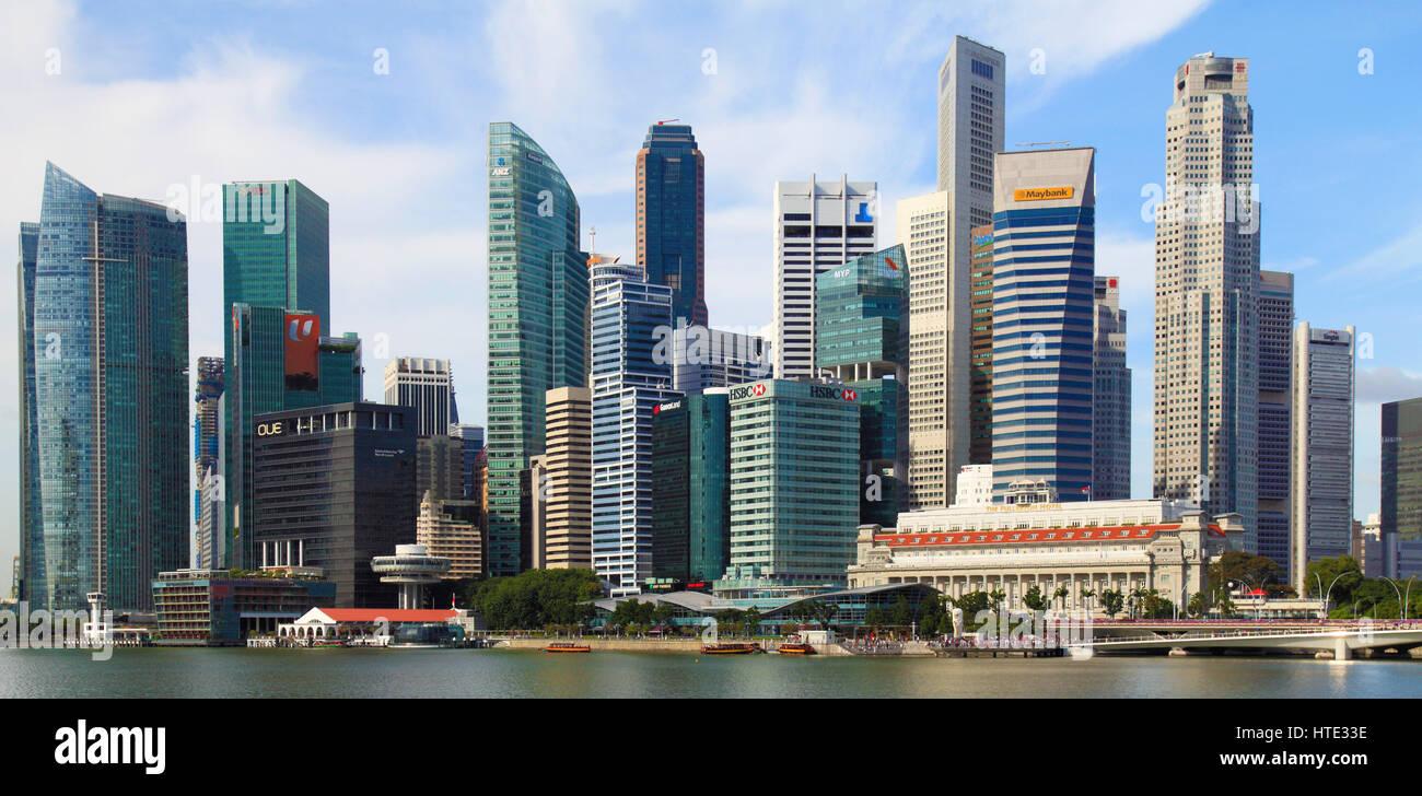 Skyline von Singapur, Central Business District, Fullerton Hotel, Stockbild