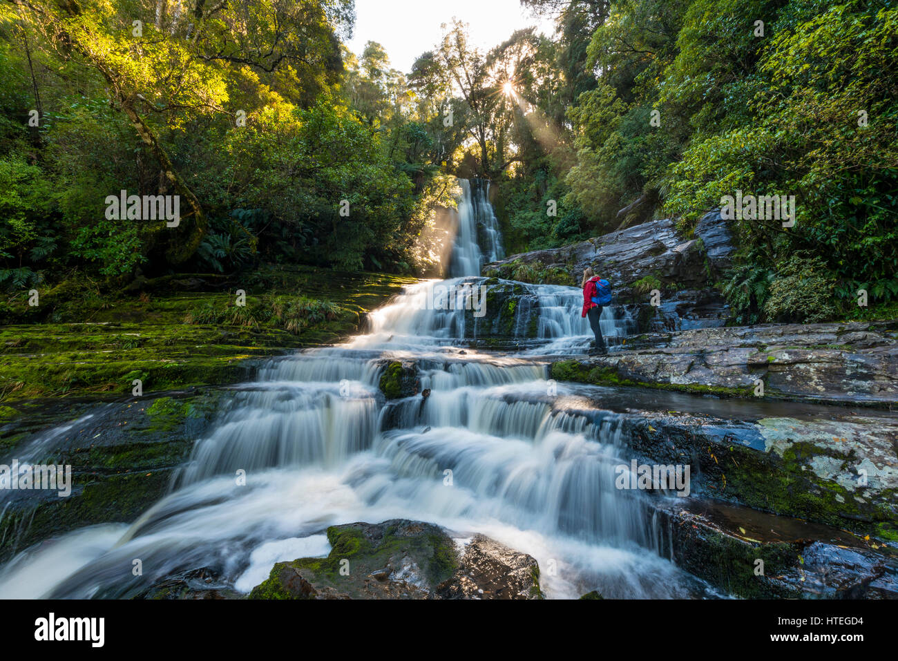 Wanderer bei McLean Wasserfall, Sun Star, die Catlins, Otago, Southland, Neuseeland Stockbild