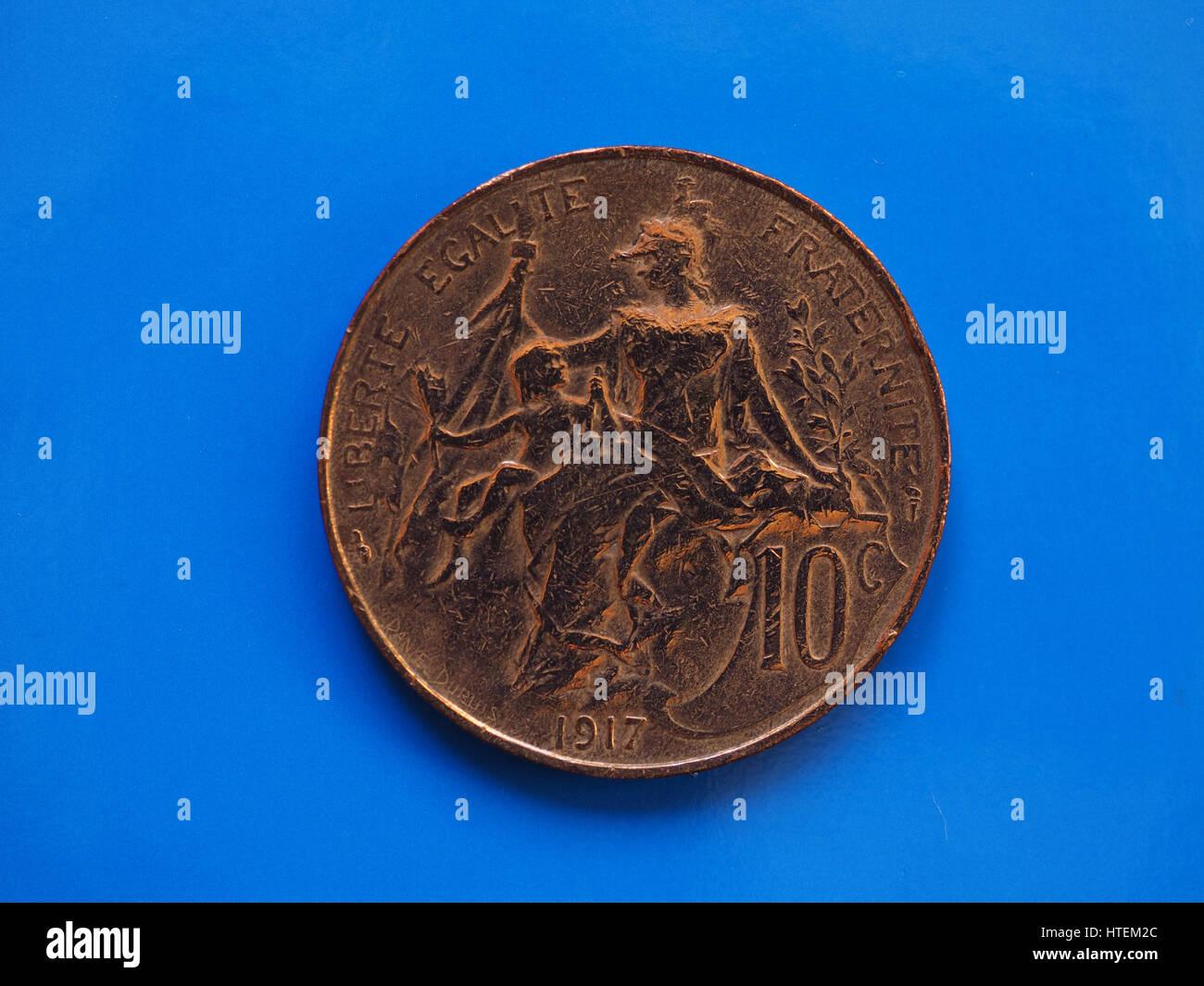 Alte Französische Münze 10 Cent Auf Blauem Hintergrund Stockfoto