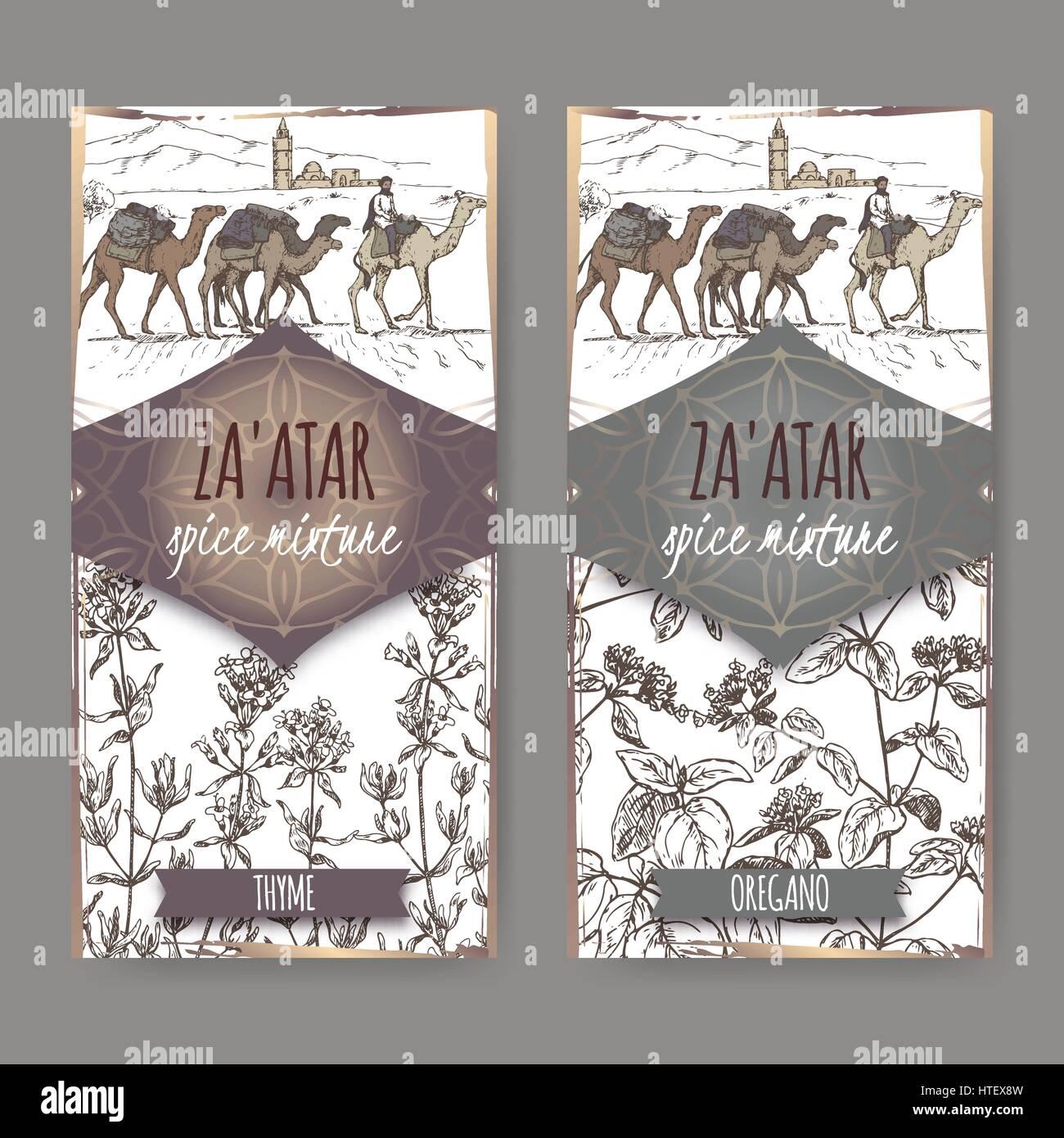 Zwei Zaatar Spice Mischung Etiketten mit Kamel trainieren und Wüste ...