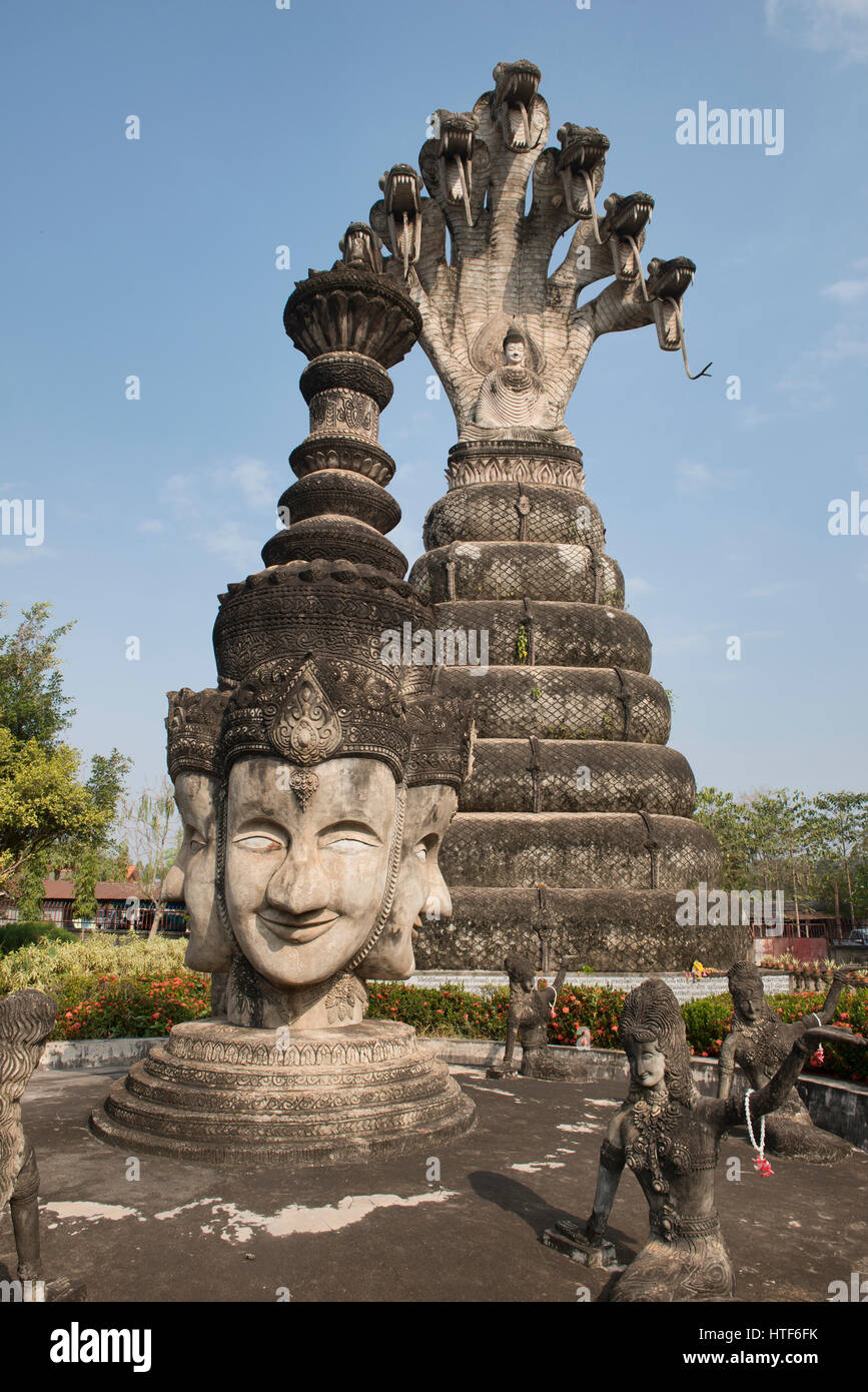 Die bizarre religiösen Kunst Skulptur Garten Sala Kaew Ku in Nong Khai, Thailand Stockbild