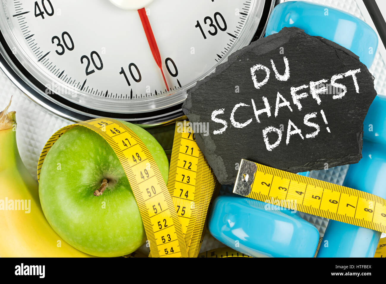 Fitness Diat Motivation Hintergrund Konzept Apfel Banane Messen Band