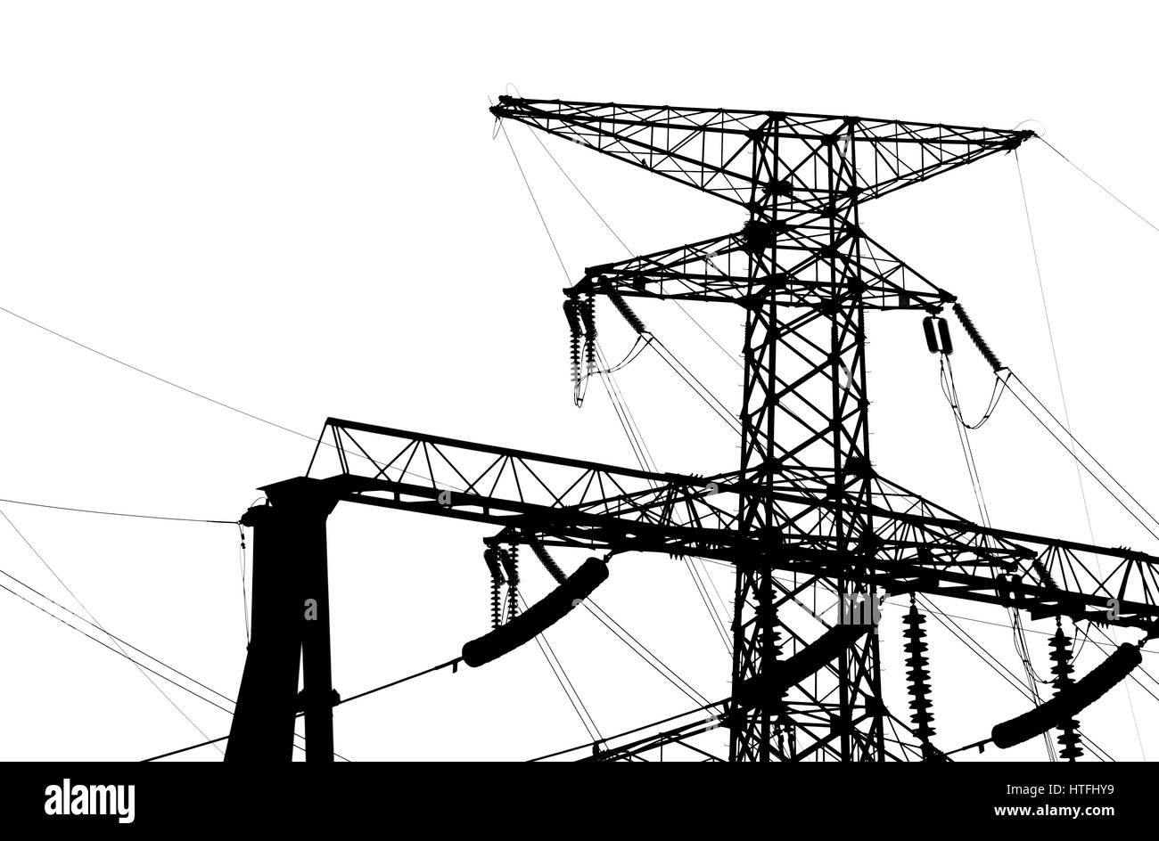 Strommast isoliert auf weiss Stockfoto