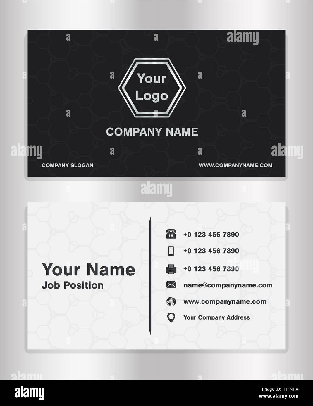 einfache Schwarz-Weiß-Thema Business Name Karte Vorlage Vektor ...