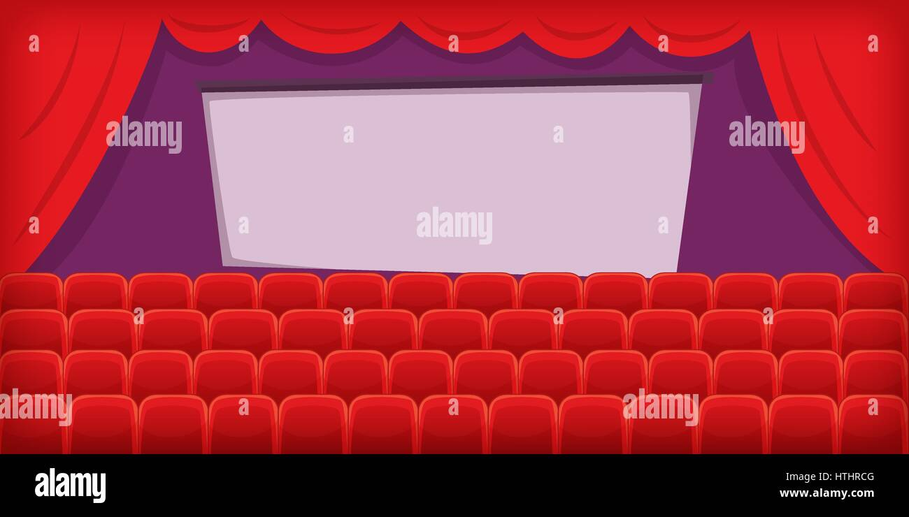 Kino Film horizontale Banner Konzept Halle. Cartoon-Illustration der ...