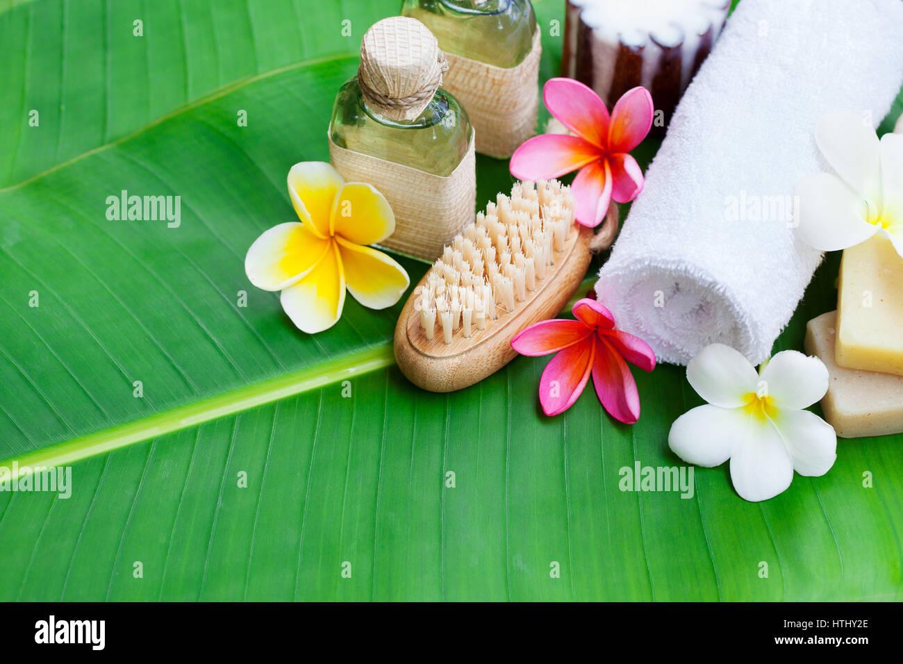 Spa wellness blumen  Spa, Wellness mit frischen Blumen auf einem Palm-Leaf-Hintergrund ...