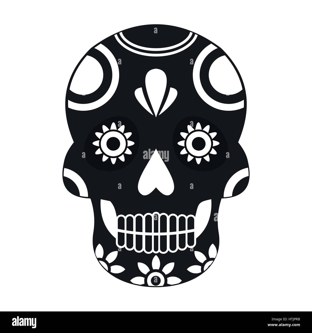 Malerisch Mexikanischer Totenkopf Foto Von Mexikanische Totenkopf-symbol, Einfachen Stil