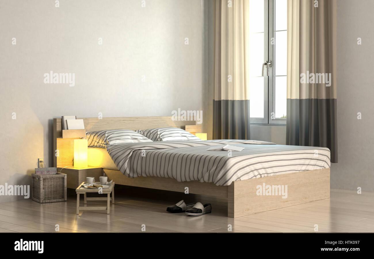 einfaches schlafzimmer interieur weißen bettdecke ecke des hellen schlafzimmer mit weißen wänden und einfaches holzbett gestreifter bettwäsche stehen in der nähe von fenster tragbare couchtisch