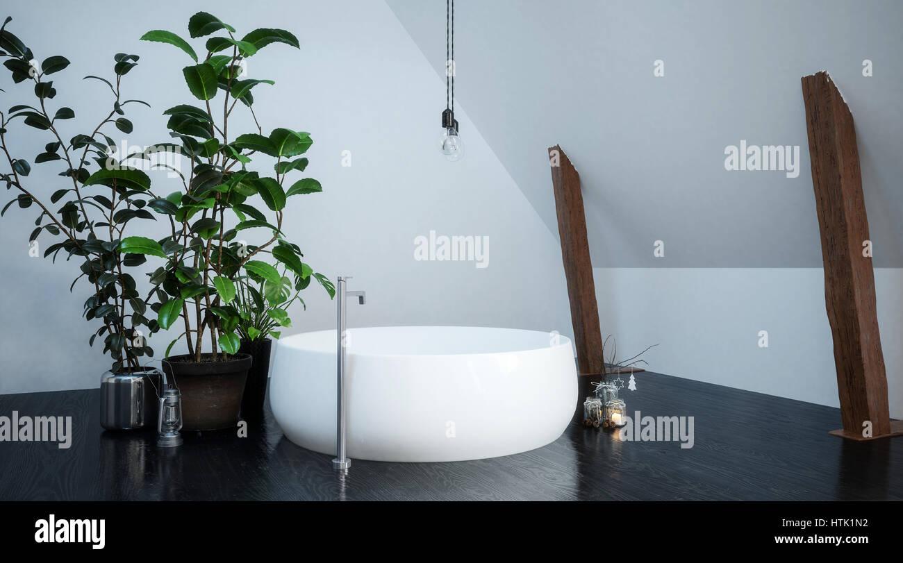 Weisse Runde Badewanne In Kompaktes Badezimmer In Einer Ecke
