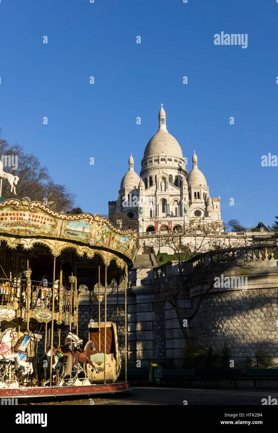 Die Basilika des Heiligen Herzen von Paris (1875-1914), Frankreich. Stockbild