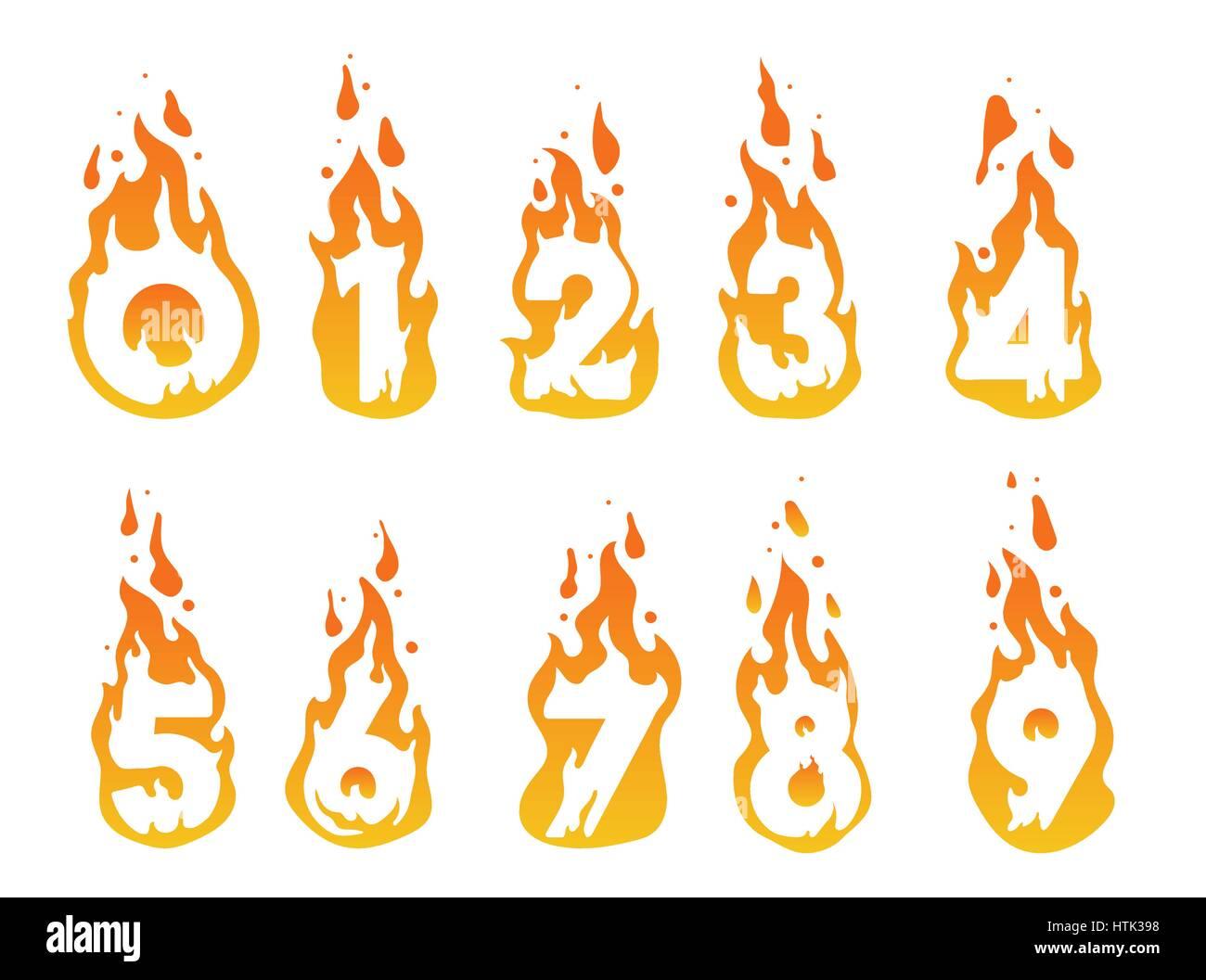 Brennende Zahlen Abbildung Stockbild