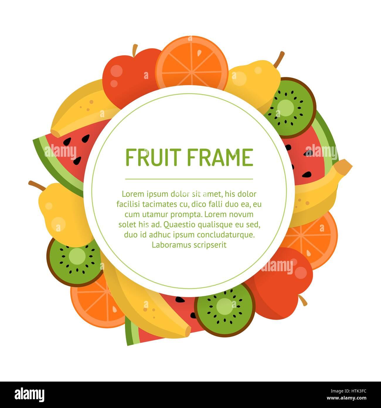 Runde saftige Frucht Rahmen. Banner mit tropischen Früchten ...