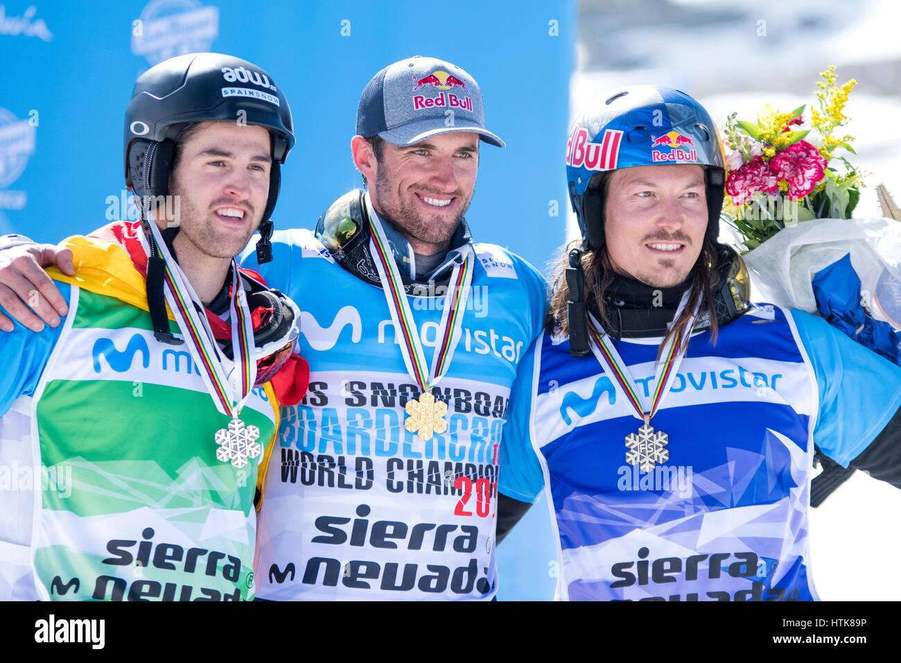 Sierra Nevada, Spanien. 12. März 2017. Lucas Eguibar (Spanien, 2.) Pierre Vaultier (Frankreich, 1.) und Alex Pullin Stockfoto