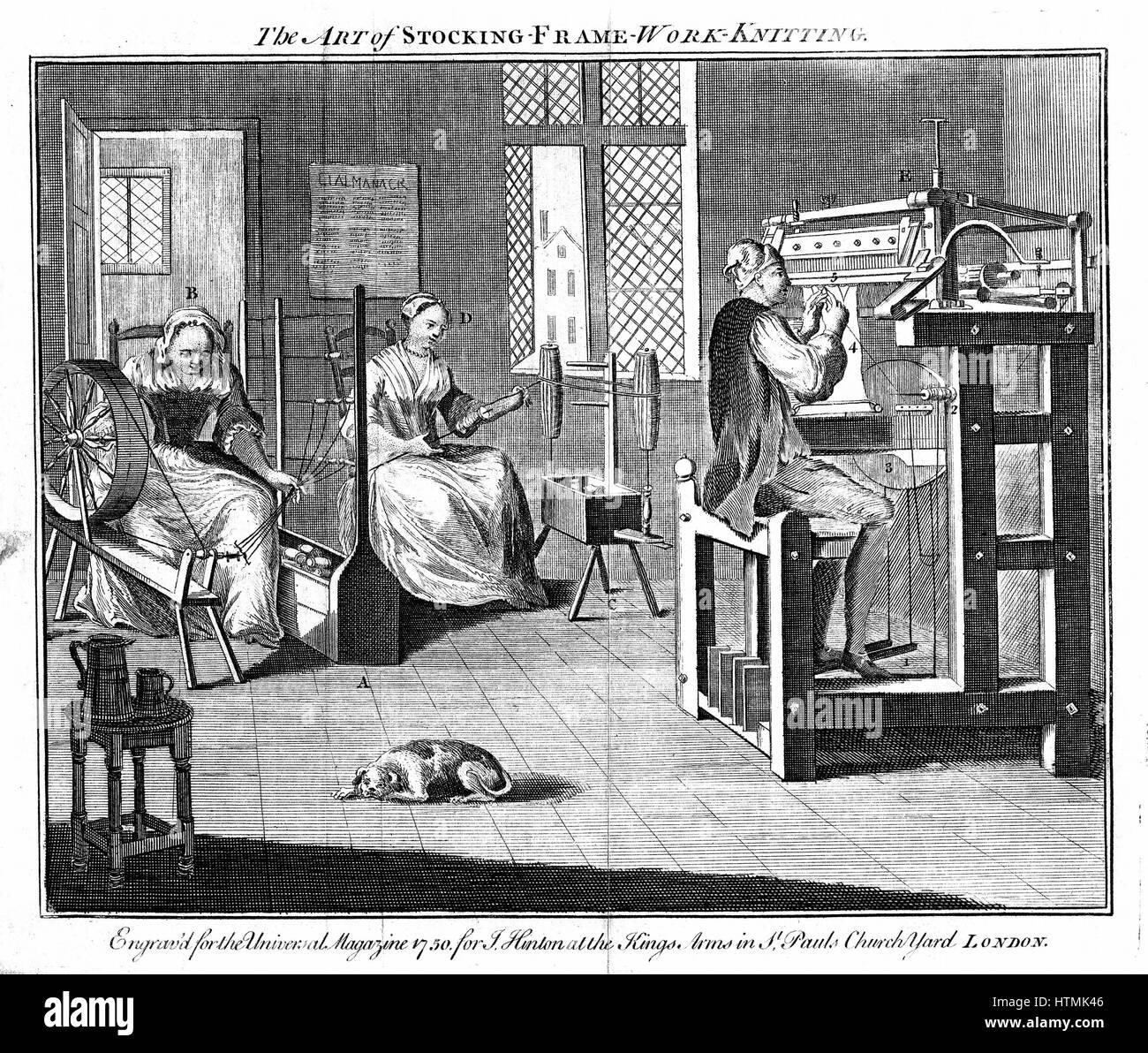 Strumpf Rahmen Werkstatt, zeigen Frauen wickeln und taumelnd das ...