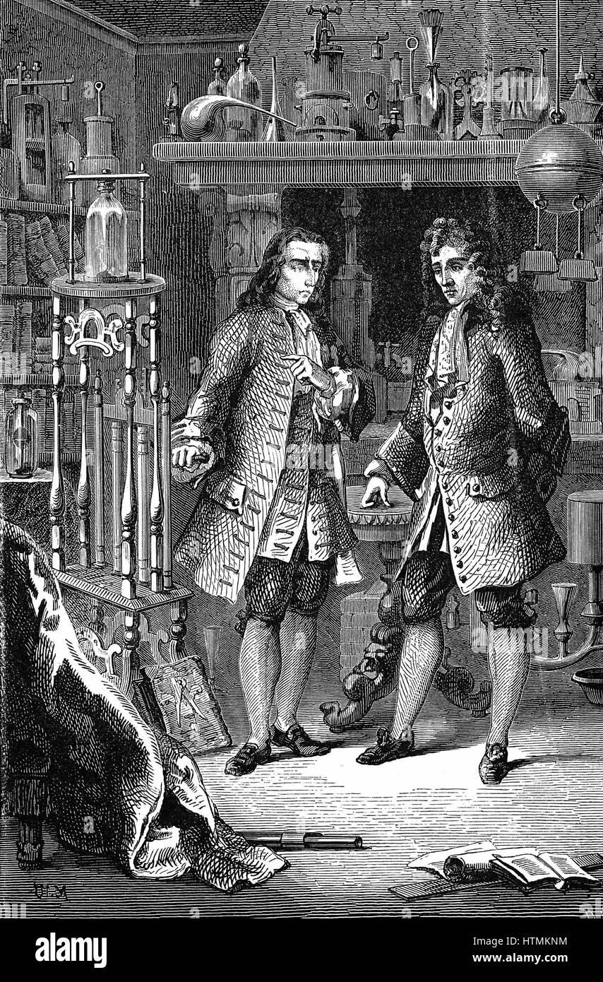 Robert Boyle (1627-91) folgten Chemiker und Physiker, in seinem Labor mit dem französischen Physiker Denis Stockbild
