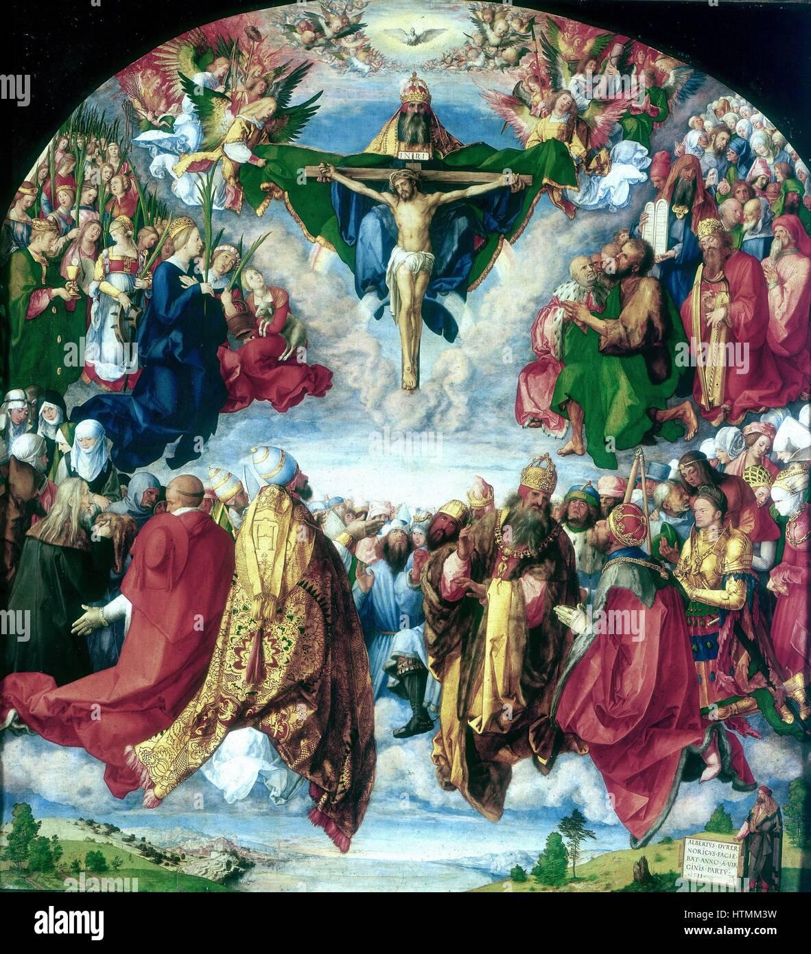 Albrecht Dürer (1471-1528) Deutsch. Anbetung der Dreifaltigkeit (1510). Wien. Stockbild