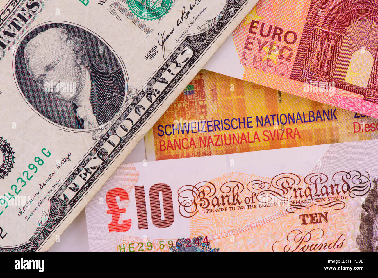 Banknoten in verschiedenen Währungen Stockbild