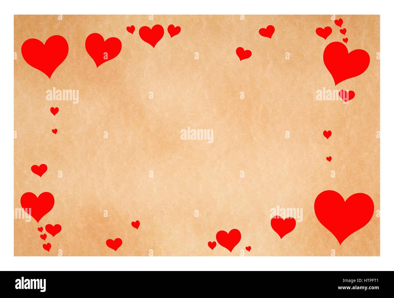 Grußkarte mit Herzen isoliert auf weißem Stockbild