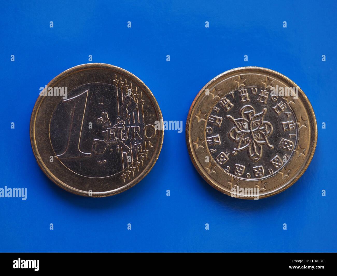 1 Euro Münze Geld Eur Währung Der Europäischen Union Portugal Auf