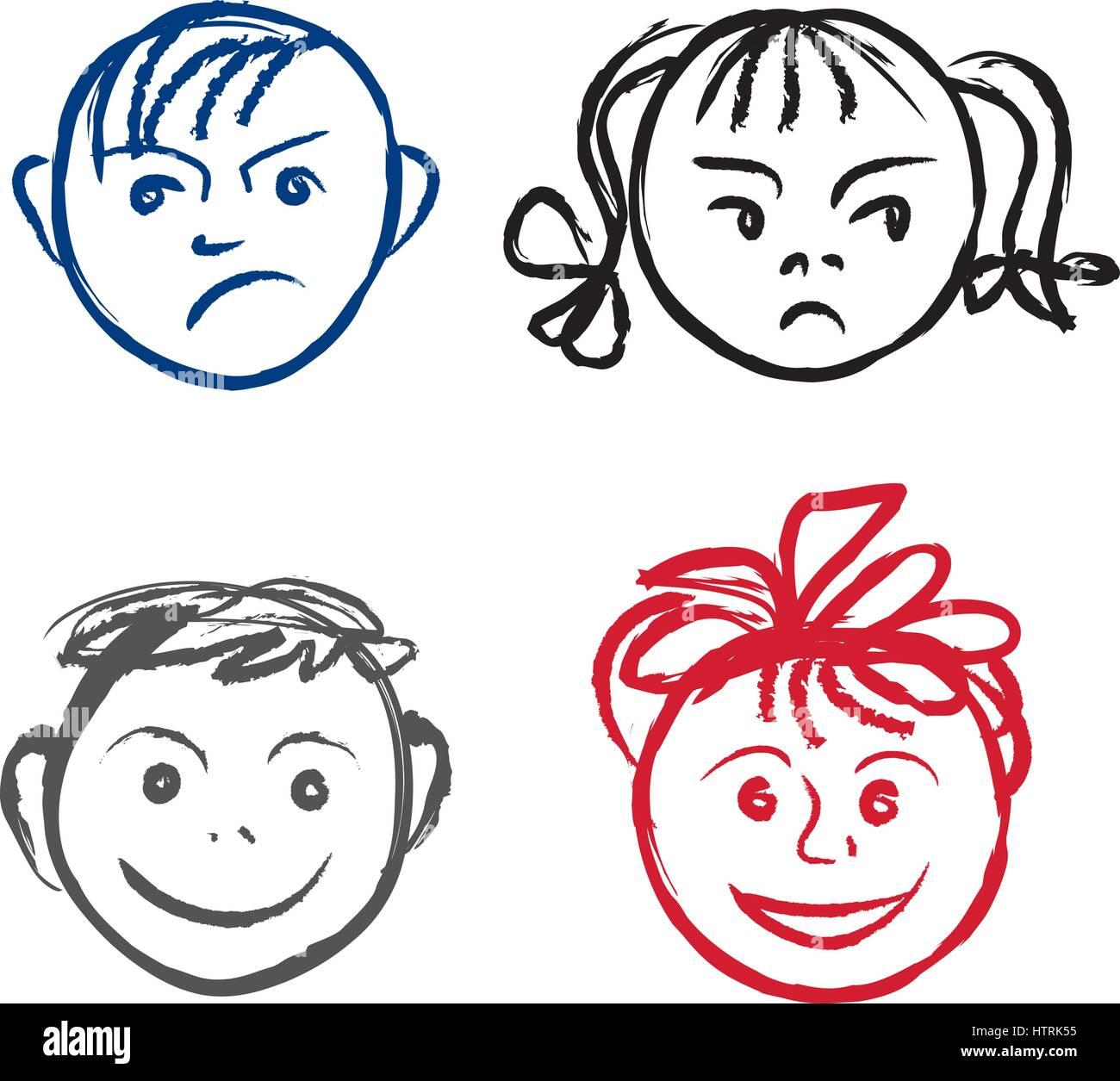 Kinder Lacheln Und Trauriges Gesicht Gesichter Profil Mit Anderen