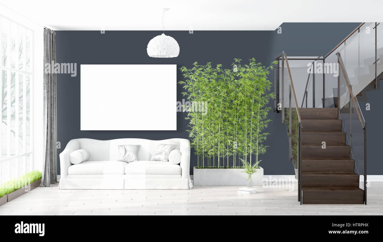 Schönes Wohnzimmer Interieur mit Mock-up Titelframe. 3D-Rendering ...