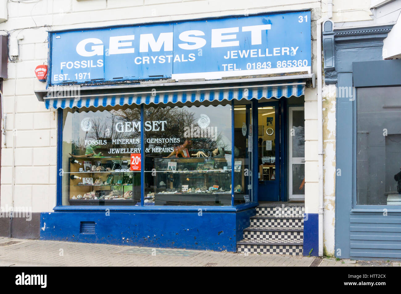 Gemset Fossilien und Mineralien Shop in Broadstairs, Kent. Stockbild