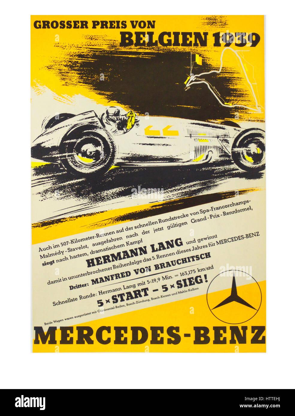 Vintage Retro-Motorsport-1939 Belgien GP Poster mit Silver Arrow Mercedes Stockbild