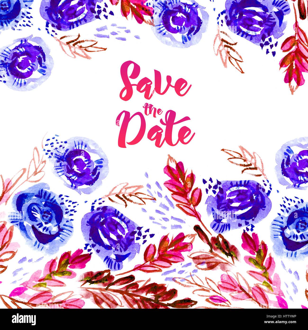 Speichern Sie dieses Datum. Vintage Hochzeitskarte mit Aquarell ...
