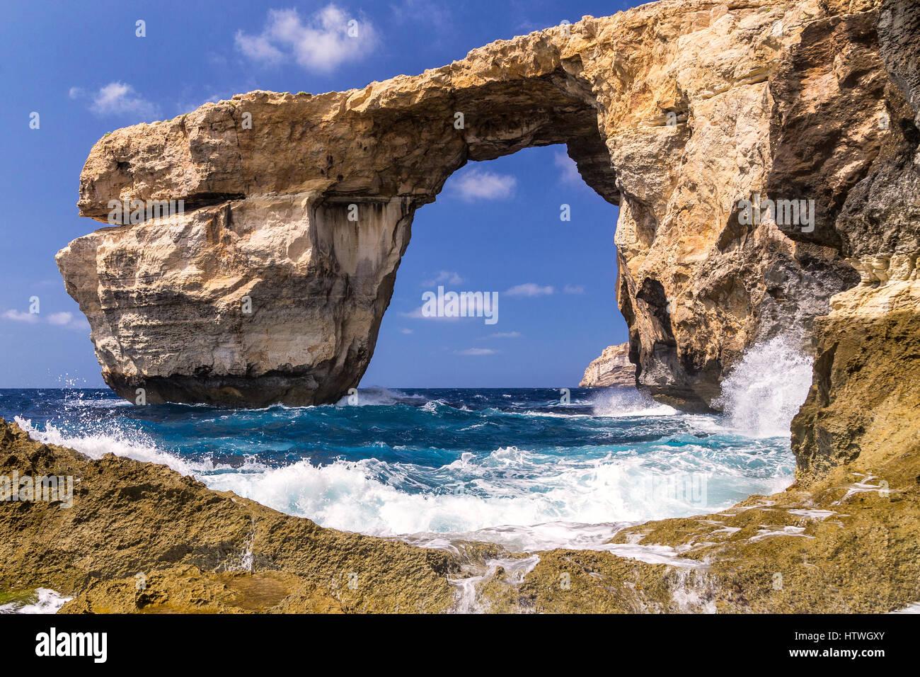 Erinnerung an Azure Window - schöne Felsformation auf Gozo, Malta, zusammengebrochen März 2017 und für Stockbild