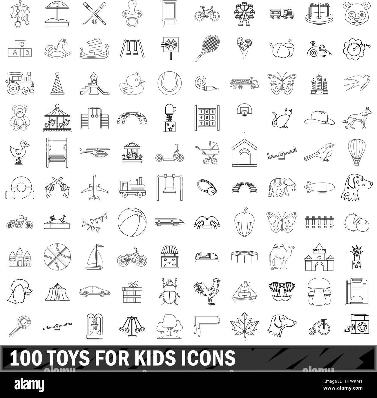 100 Spielwaren für Kinder Icons Set, Umriss-Stil Stockbild