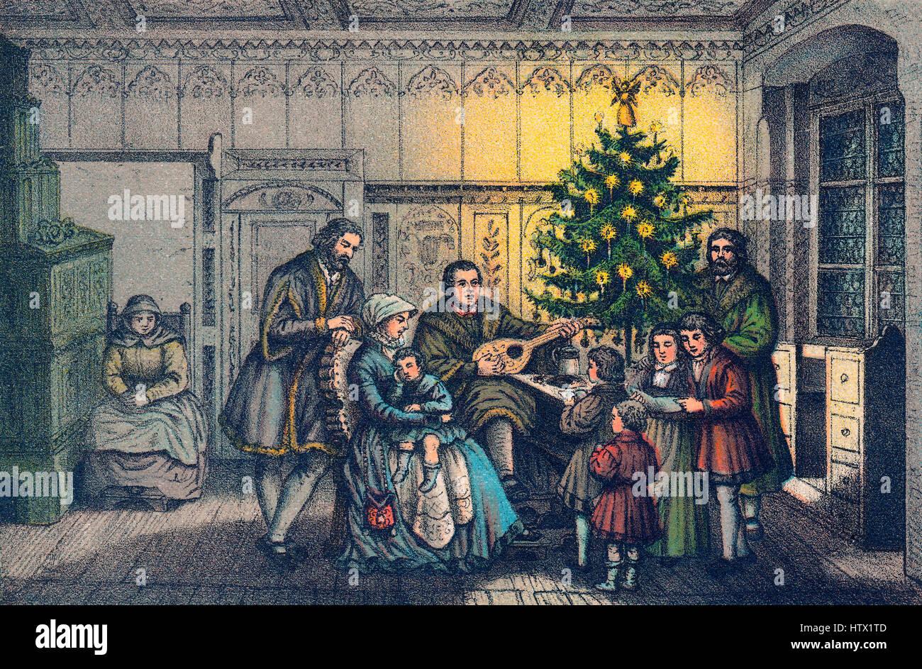 Martin Luther, Musizieren mit seiner Familie, Weihnachten, 1536  Stockfotografie - Alamy