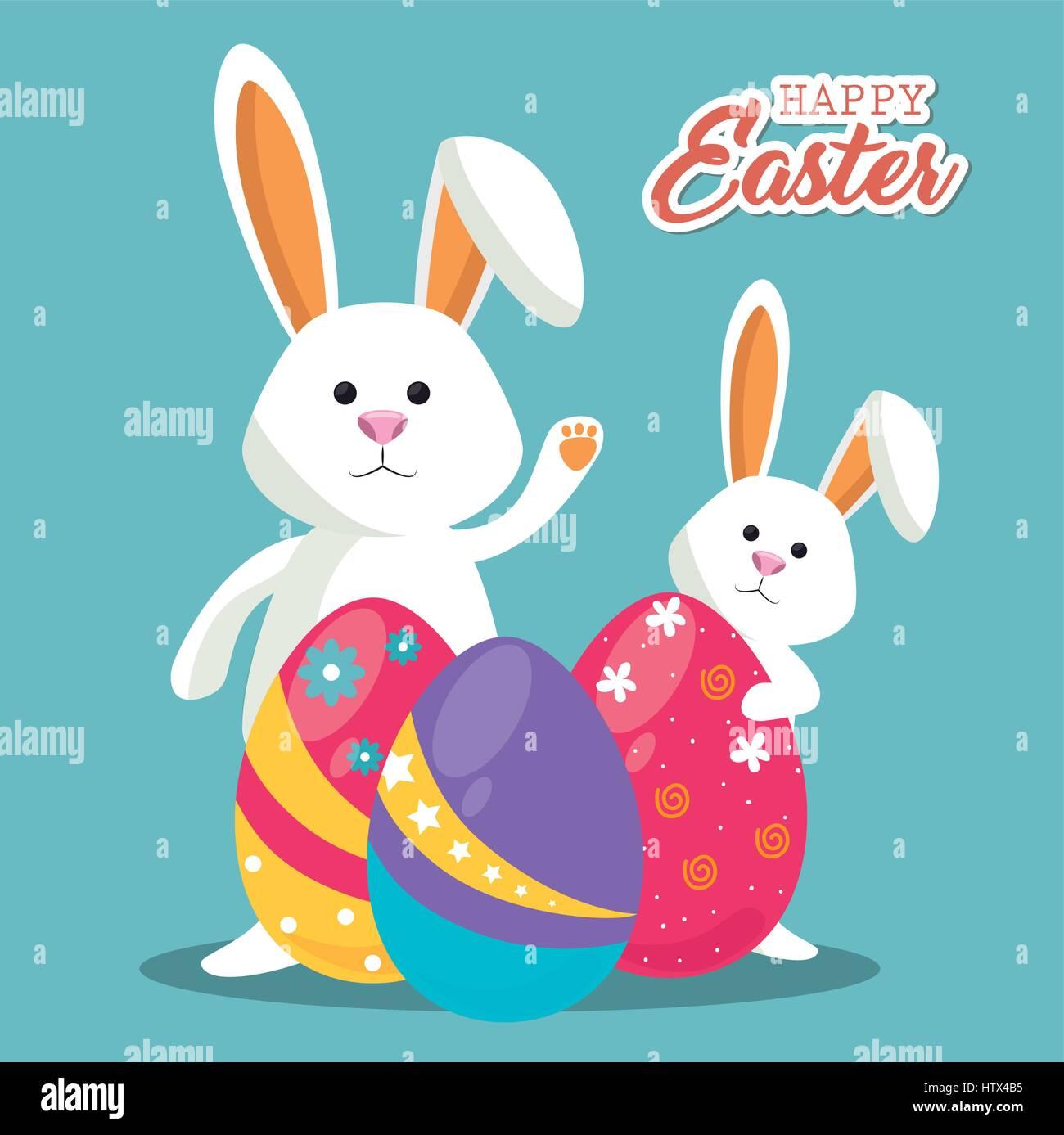 Niedlichen Kaninchen Frohe Ostern Vektor Abbildung Bild 135798521