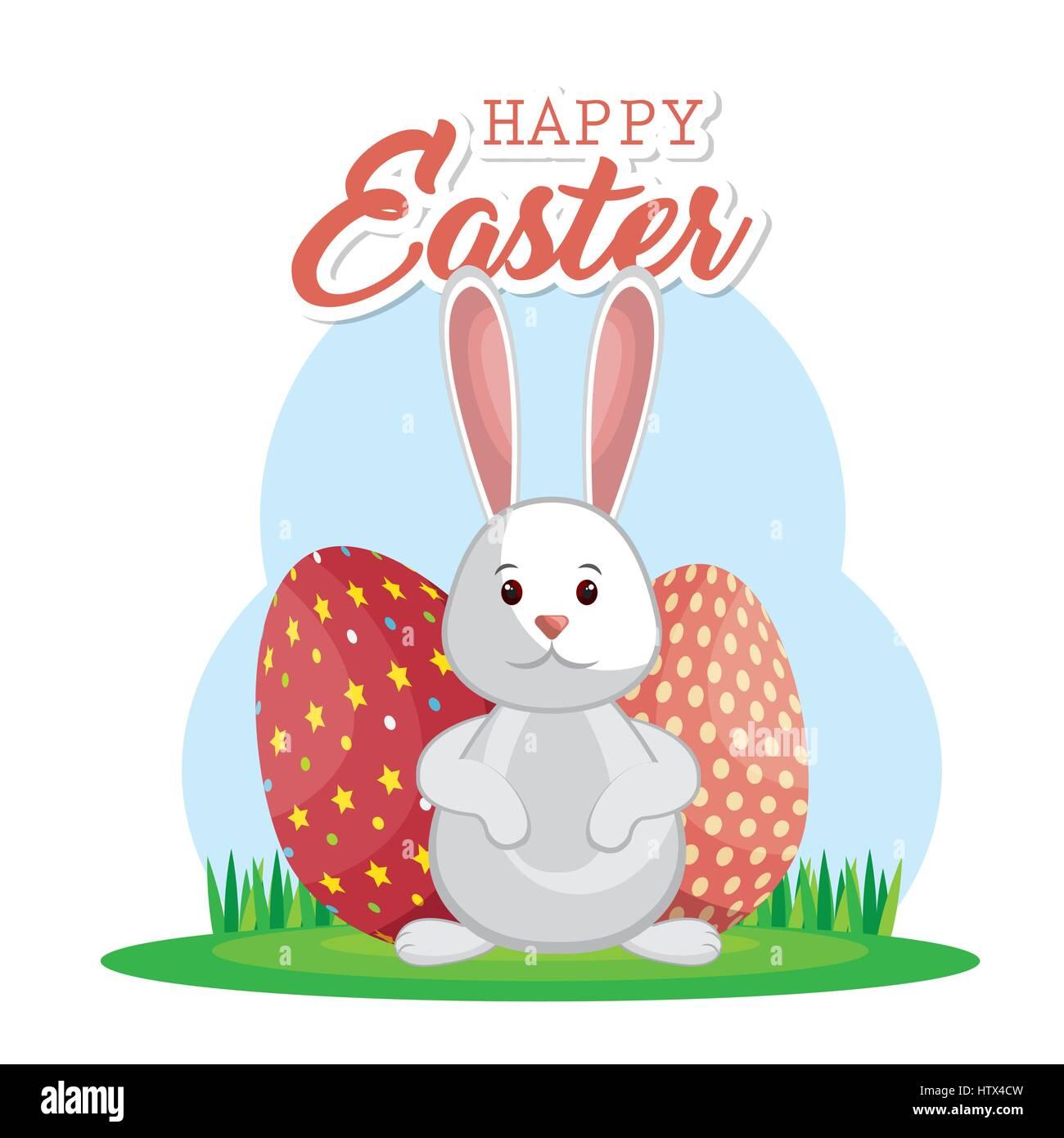 Niedlichen Kaninchen Frohe Ostern Vektor Abbildung Bild 135798569