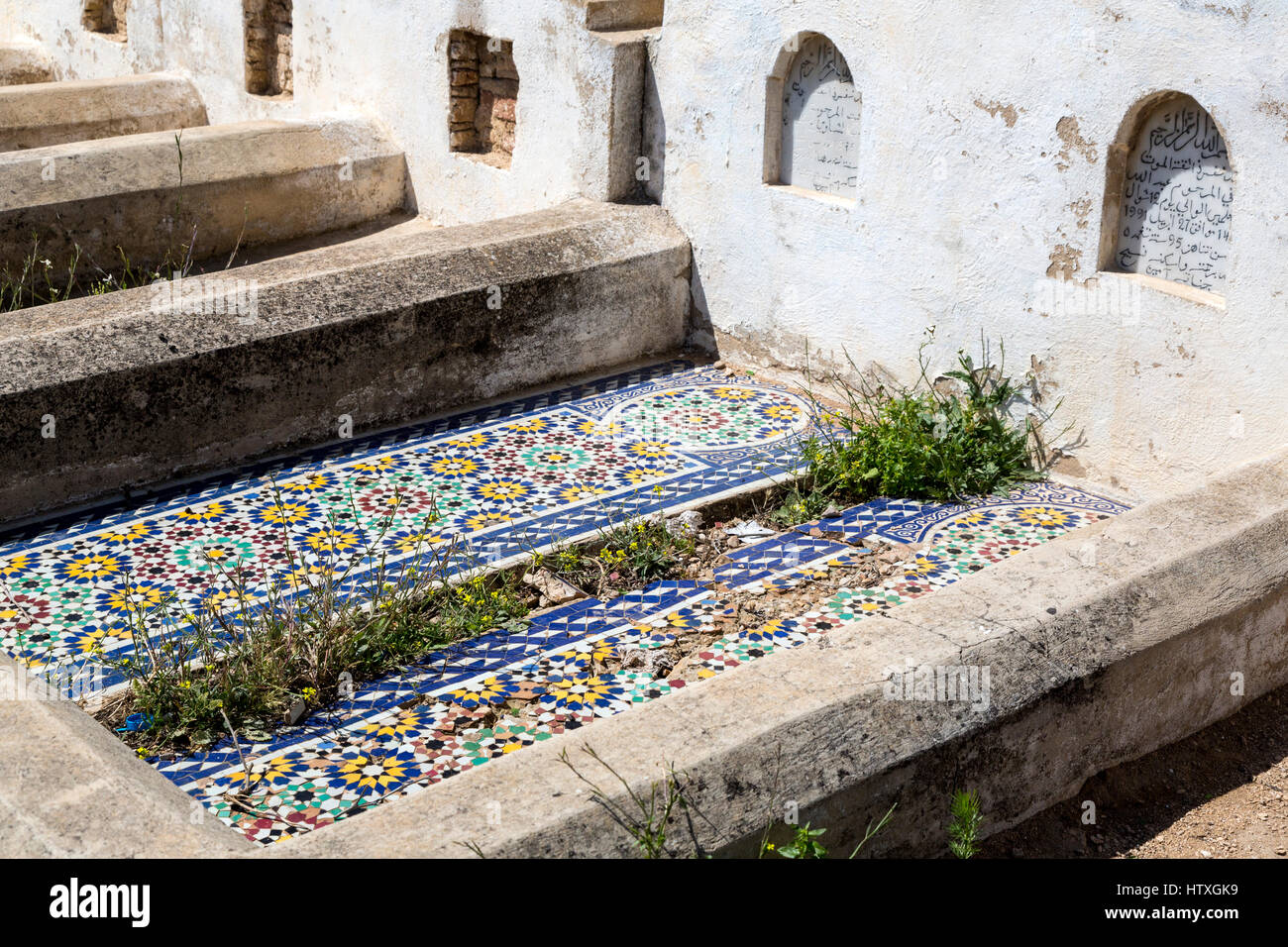 Fes, Marokko. Geometrische Fliesen Dekoration auf zeitgenössische ...
