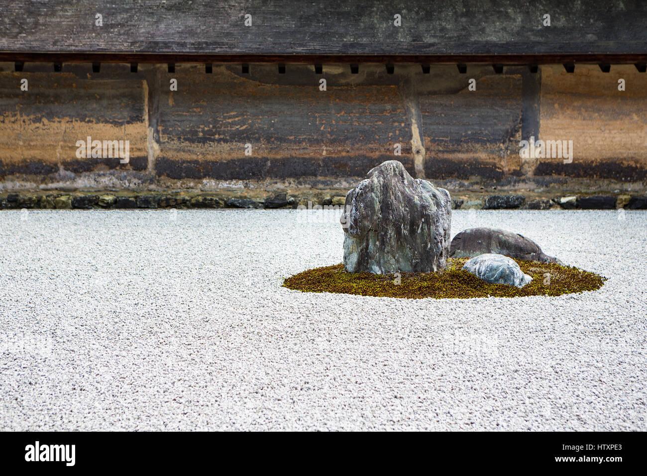 Zen rock garden des Ryoan-ji Tempel Stockbild