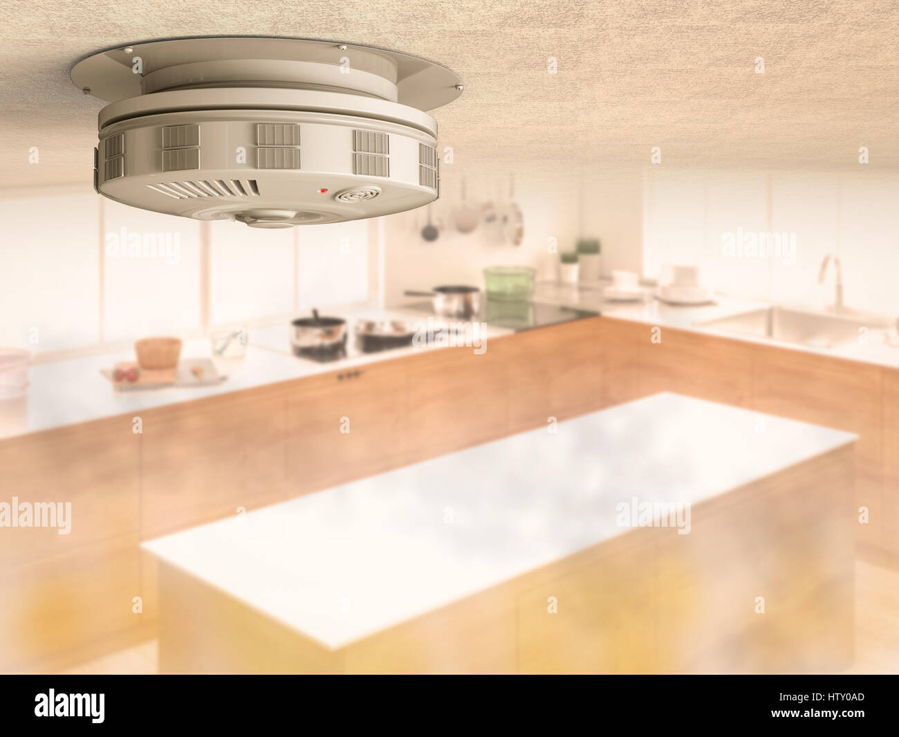 3D Rendering Rauchmelder an die Decke mit Rauch in Küche Stockfoto ...