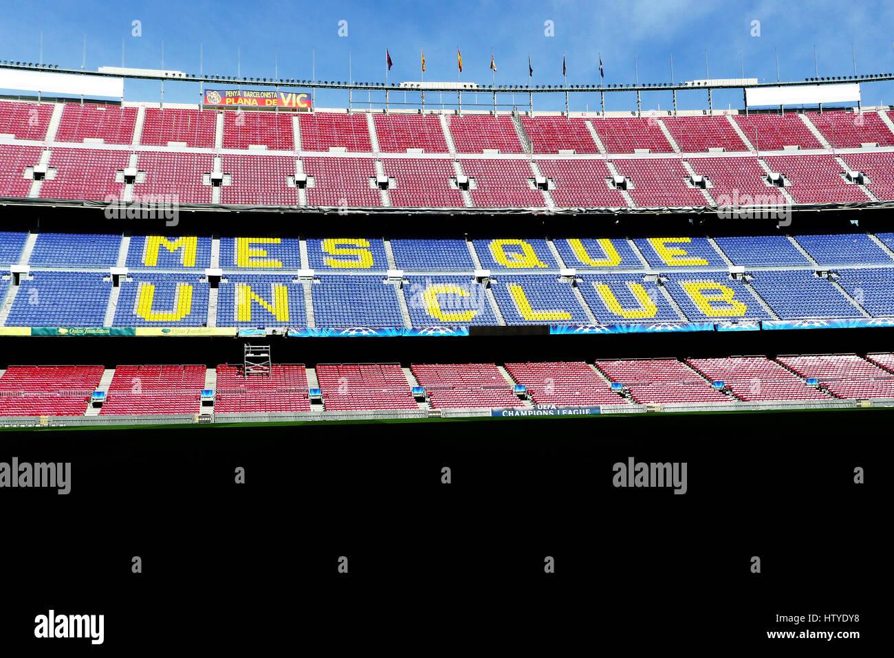 Camp Nou ist ein Fußballstadion in Barcelona, Spanien. Es ist auch die Heimat der Futbold Club Barcelona seit 1957. Stockfoto