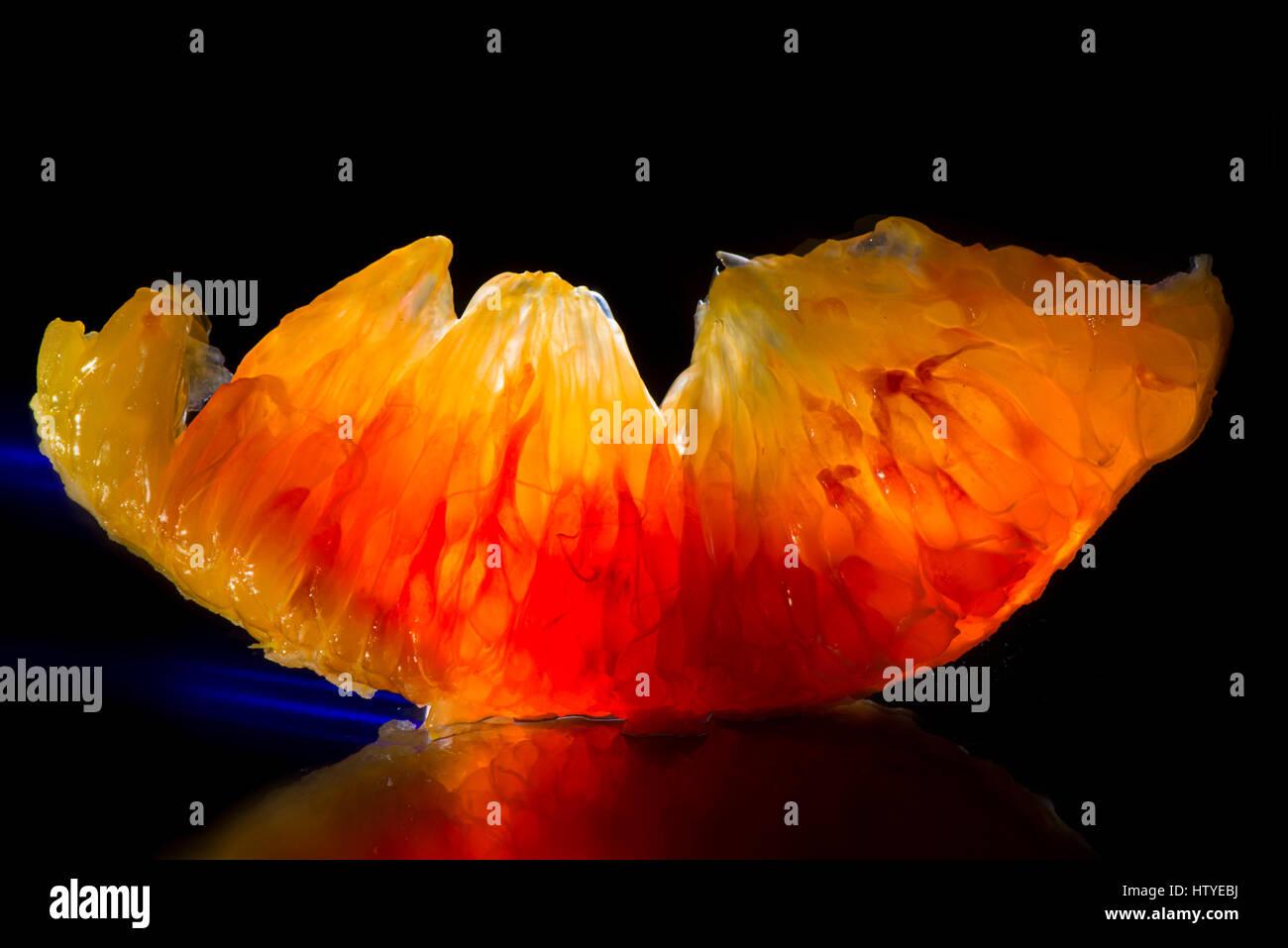 Nahaufnahme eines orange-Segments Stockfoto