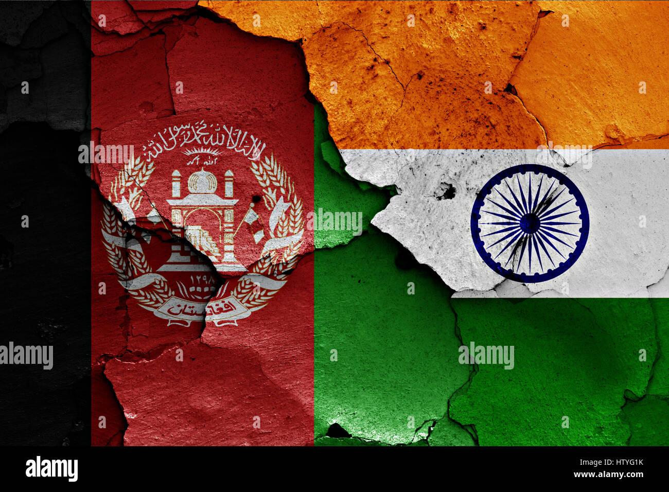 Flagge Von Afghanistan Und Indien Auf Rissige Wand Gemalt
