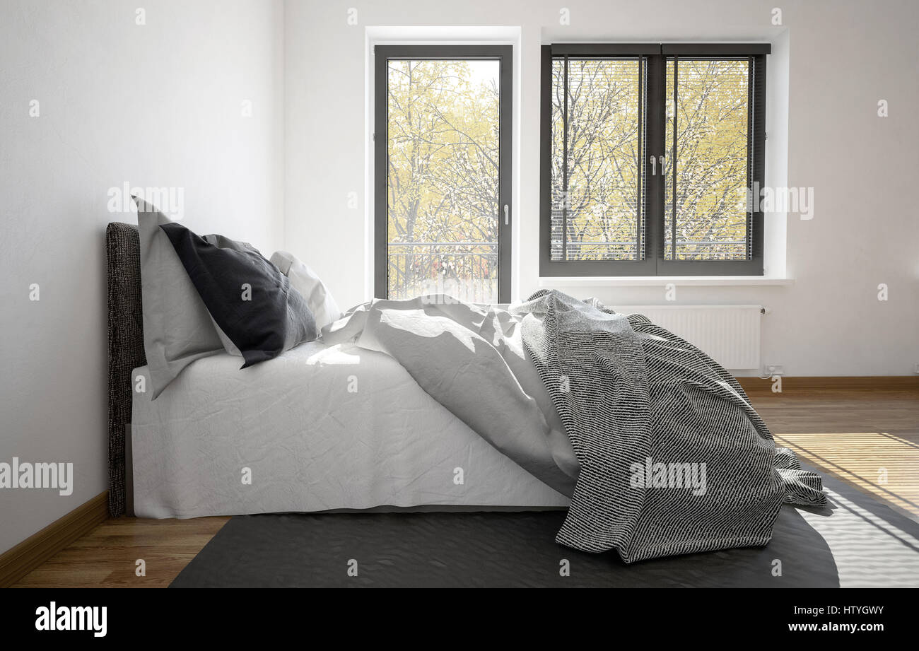 3D Rendering Ein Chaotisch Ungemachten Bett In Einem Modernen Schlafzimmer  Mit Balkontür Und Fenster In Eine Nahaufnahme Seitenansicht