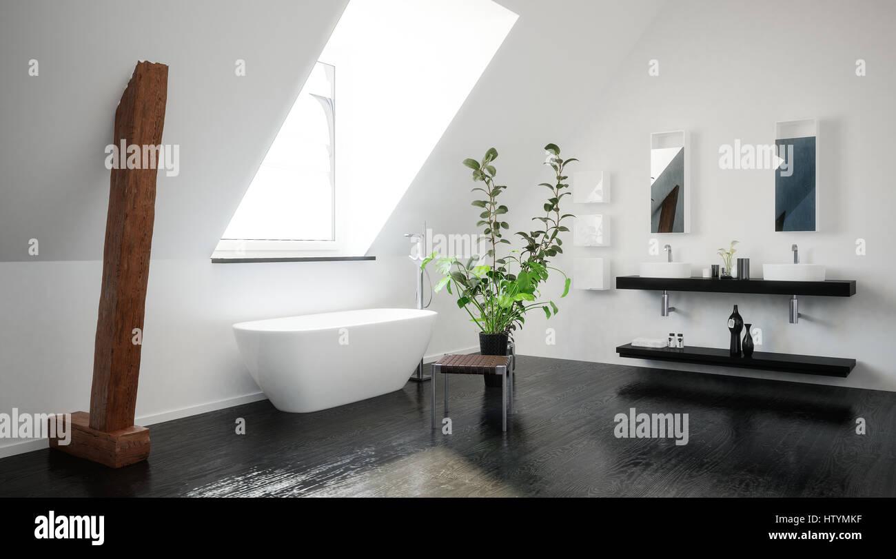 Moderne Stilvolle Schwarz Weiß Dachgeschoss Bad Mit Freiliegenden Hölzernen  Stützbalken, Eine Freistehende Badewanne Und Doppelwaschbecken Unter Einer  ...