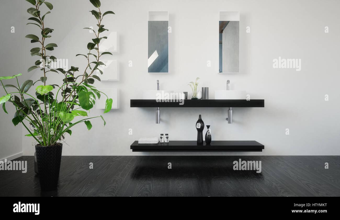 Stilvolle Schwarze Wand Doppelwaschbecken Einheit Mit Ablage Unten Und  Ovale Waschbecken In Einem Modernen Schwarz Weiß Minimalistischen Badezimmer  ...