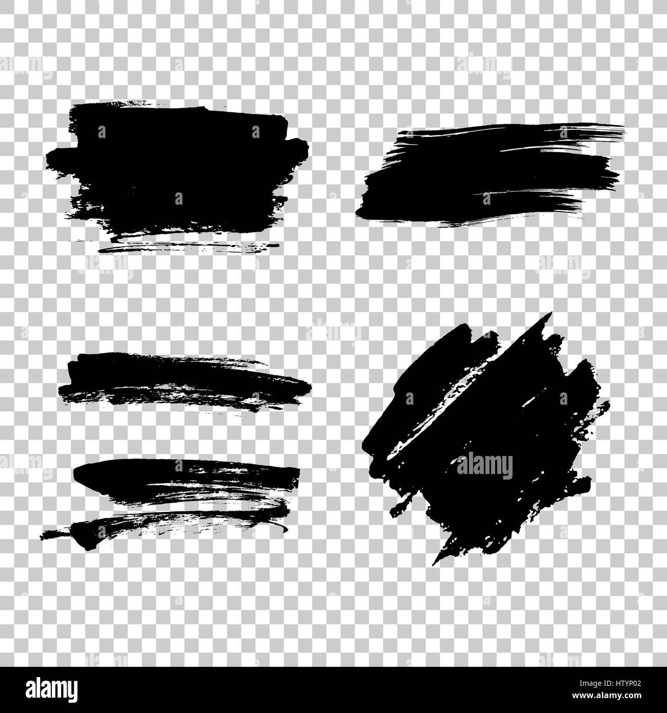 Satz von schwarzer Farbe, Tinte Pinselstriche, Pinsel, Linien ...