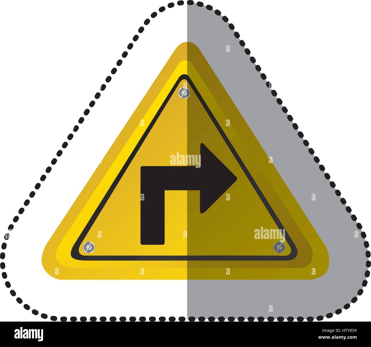 Aufkleber gelbes Dreieck Rahmen drehen Rechts Verkehrszeichen Vektor ...