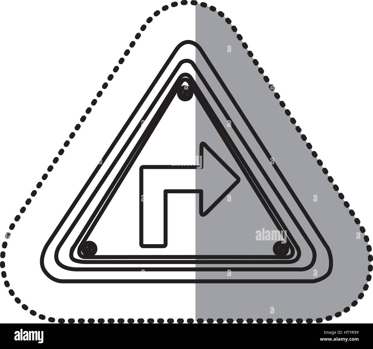 Aufkleber Kontur Dreieck Rahmen drehen Rechts Verkehrszeichen Vektor ...