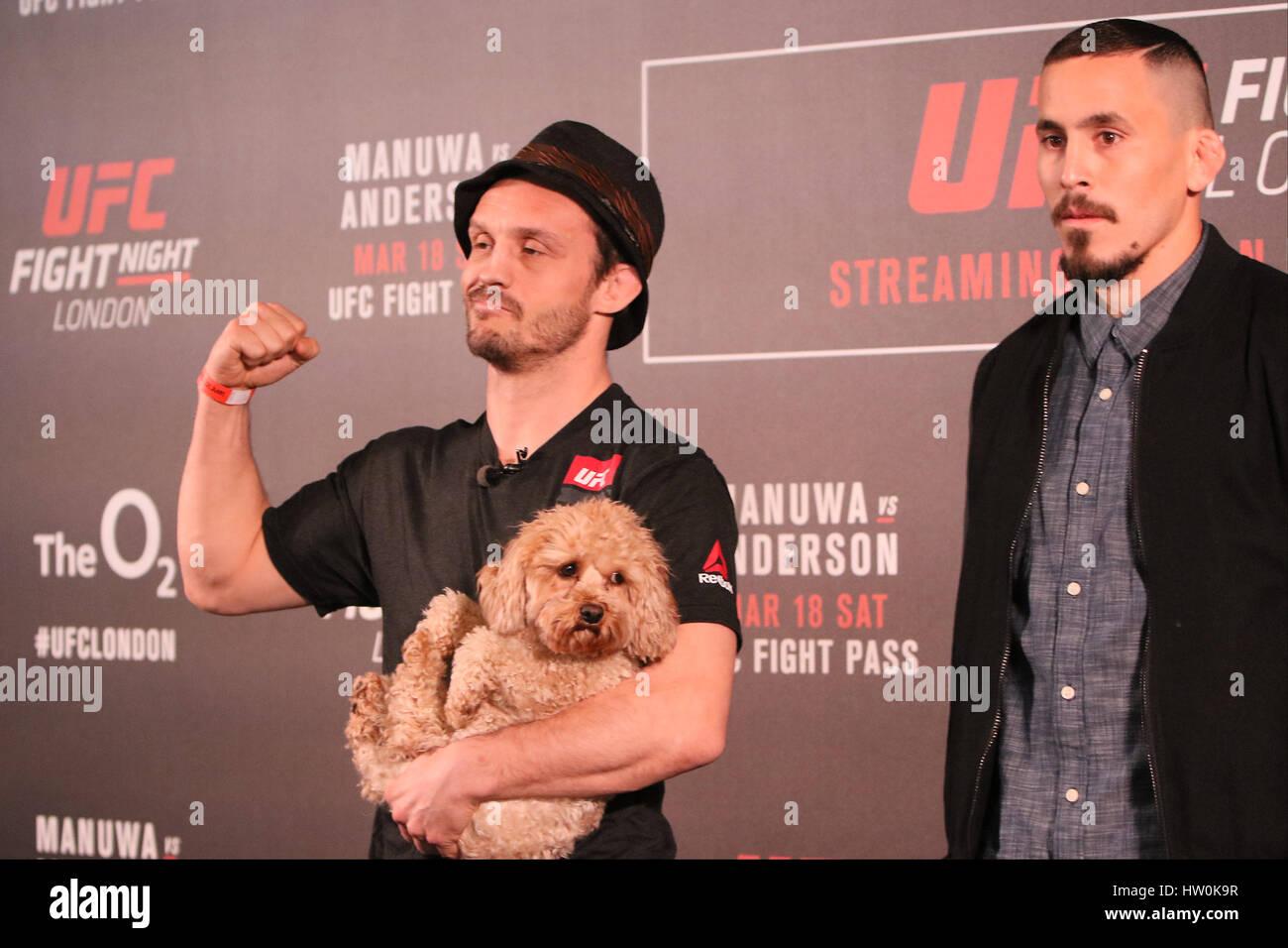London, UK. 16. März 2017. Brad Pickett und Marlon Vera antreten vor ihrer Hauptkarte Kampf bei UFC London: Stockbild