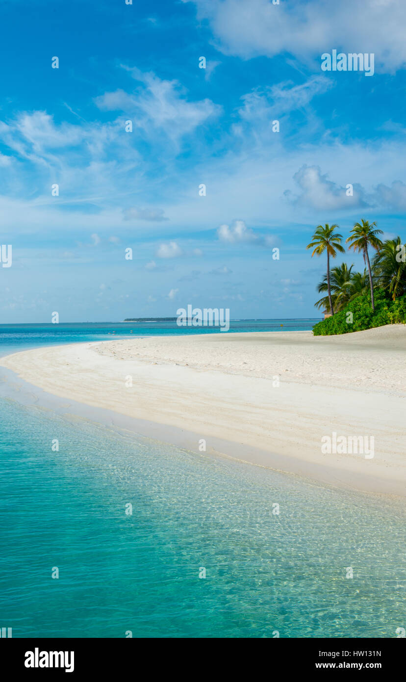 Maldives Rangali Island. Conrad Hilton Resort Strand. White Sand Beach. Stockfoto