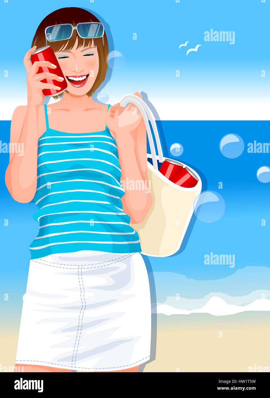 Beach Blaue Braune Haare Kann Tragen Lässige Kleidung Clipart