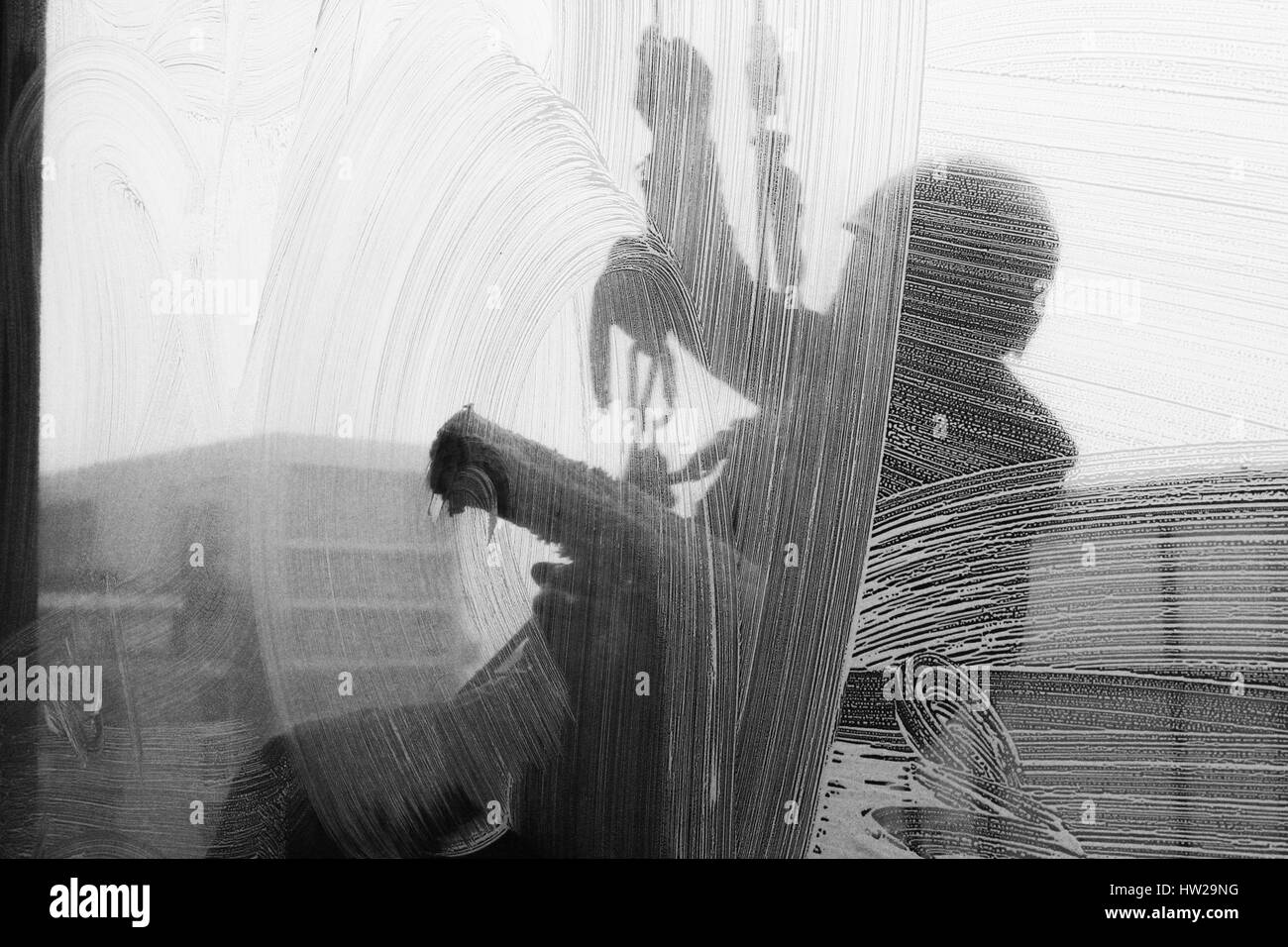 Dokumentarfotografie Der Cardiff Fenster Reinigung Firma Stockfoto