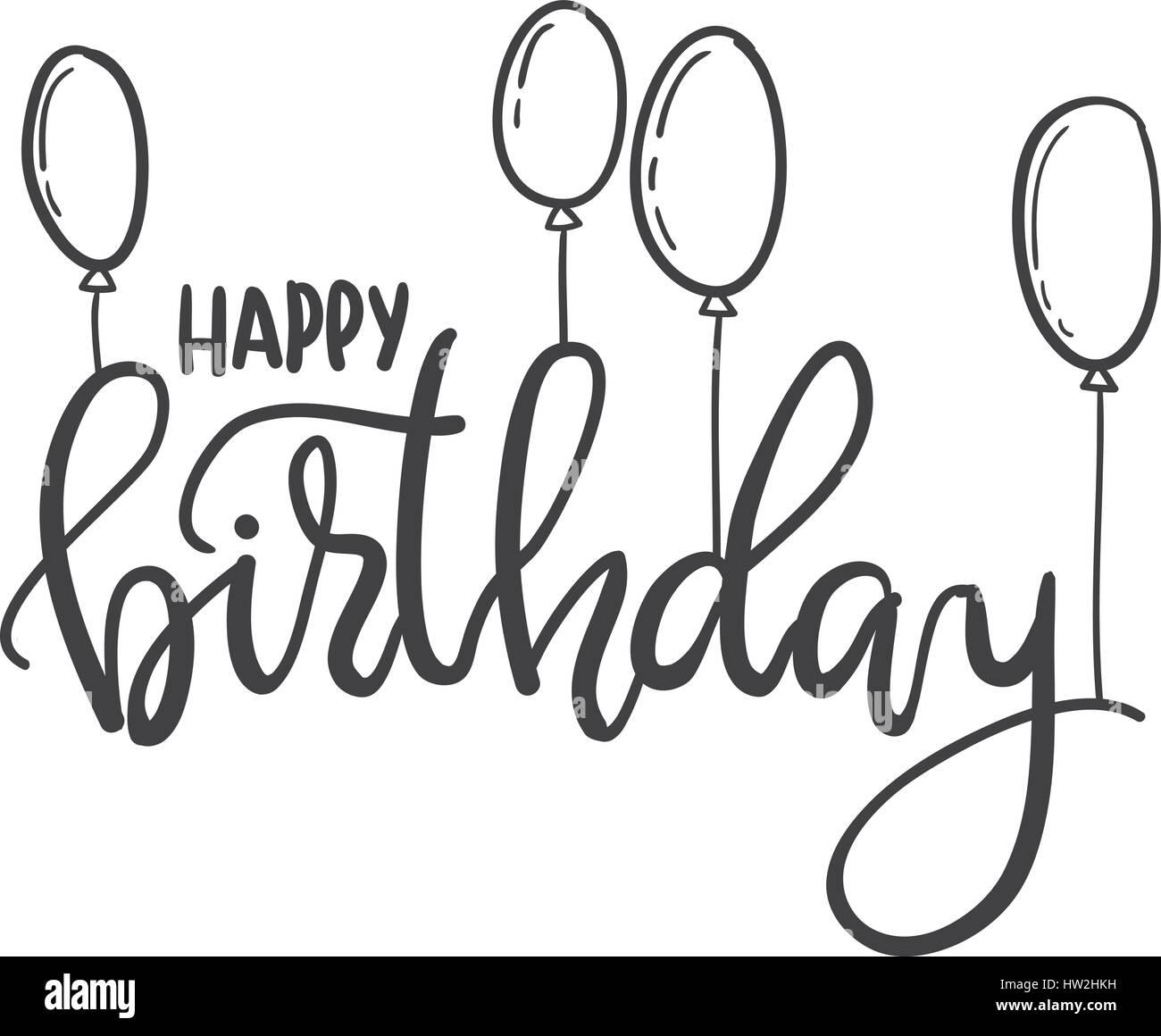 Alles Gute zum Geburtstag. Hand schrift Typografie Vorlage. Für ...